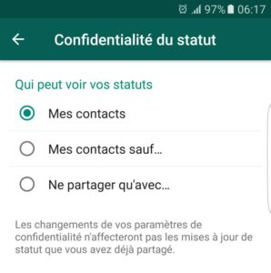 statuts whatsapp confidentialité