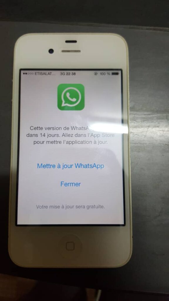 mise a jour what sapp iphone 4